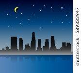 los angeles city night scene    Shutterstock .eps vector #589332947