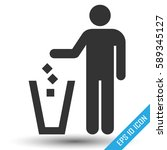 trash icon. vector isolated on... | Shutterstock .eps vector #589345127