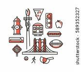 new york city  vector outline... | Shutterstock .eps vector #589352327