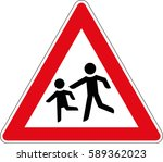 children. vector road sign... | Shutterstock .eps vector #589362023