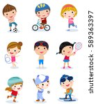 group of sport boys and girls | Shutterstock .eps vector #589363397