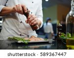man in uniform of chef... | Shutterstock . vector #589367447