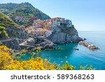amazing town of manarola in the ... | Shutterstock . vector #589368263