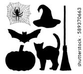 set for witch. silhouettes for... | Shutterstock .eps vector #589370663