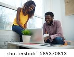smiling designers searching for ... | Shutterstock . vector #589370813