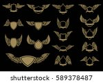 set of winged emblems in golden ... | Shutterstock .eps vector #589378487