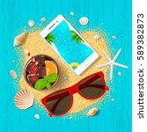 summer vacation background. top ... | Shutterstock .eps vector #589382873