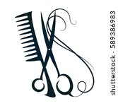 scissors and hair sign for... | Shutterstock .eps vector #589386983