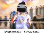 virtual reality  vr  concept... | Shutterstock . vector #589395353