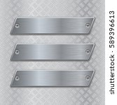 metal brushed plates on non... | Shutterstock .eps vector #589396613