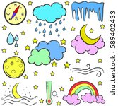 doodle of weather set element | Shutterstock .eps vector #589402433