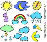 doodle of weather theme style | Shutterstock .eps vector #589402457