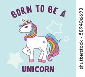 cute magical unicorn vector...   Shutterstock .eps vector #589406693