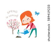 spring is coming  greeting card ... | Shutterstock .eps vector #589419233