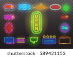 set of neon sign light at night ... | Shutterstock .eps vector #589421153
