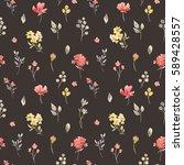 gentle watercolor floral... | Shutterstock . vector #589428557