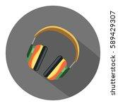 headphone flat icon   Shutterstock .eps vector #589429307