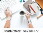 modern white office desk table... | Shutterstock . vector #589431677