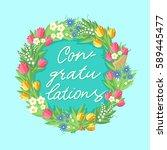 flower wreath with...   Shutterstock .eps vector #589445477