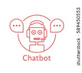 thin line chatbot like hotline... | Shutterstock .eps vector #589450553