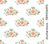 vector floral pattern in doodle ... | Shutterstock .eps vector #589456493
