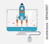 start up concept in modern flat ... | Shutterstock .eps vector #589465007