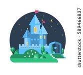 purple castle. vector flat...   Shutterstock .eps vector #589466837