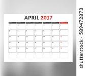 calendar template for april... | Shutterstock .eps vector #589472873