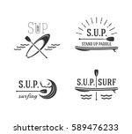 stand up paddle. set icons of...