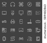 electronic gadgets outline... | Shutterstock .eps vector #589482863