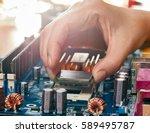 engineer plug in cpu... | Shutterstock . vector #589495787