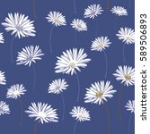 daisies seamless pattern.... | Shutterstock .eps vector #589506893