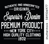 new york city superior denim ... | Shutterstock .eps vector #589506977