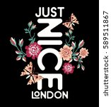 just nice london.flowers and... | Shutterstock .eps vector #589511867