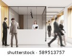 people in an office lobby with... | Shutterstock . vector #589513757