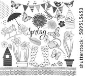spring. vector collection of... | Shutterstock .eps vector #589515653