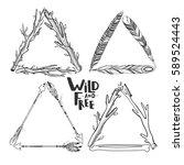 set of vector boho triangle... | Shutterstock .eps vector #589524443
