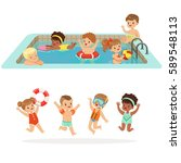 small children having fun in... | Shutterstock .eps vector #589548113