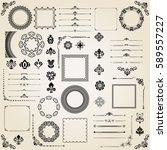 vintage set of vector... | Shutterstock .eps vector #589557227