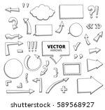 set of hand drawn doodle arrows.... | Shutterstock .eps vector #589568927
