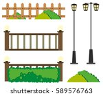 fences and lamp posts... | Shutterstock .eps vector #589576763
