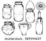collection of hand drawn vases... | Shutterstock .eps vector #589594637