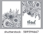 floral backgrounds with hand... | Shutterstock .eps vector #589594667