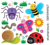 spring animals and insect theme ... | Shutterstock .eps vector #589594967