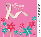 breast cancer ribbon flower and ... | Shutterstock .eps vector #589598633