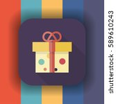 gift box flat icon with long... | Shutterstock .eps vector #589610243
