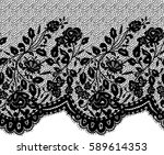 seamless black vector lace... | Shutterstock .eps vector #589614353