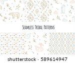 set of navajo tribal patterns... | Shutterstock .eps vector #589614947