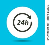 24 hours icon. flat vector... | Shutterstock .eps vector #589616033