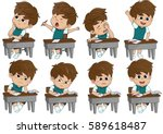 set of different kid pose... | Shutterstock .eps vector #589618487